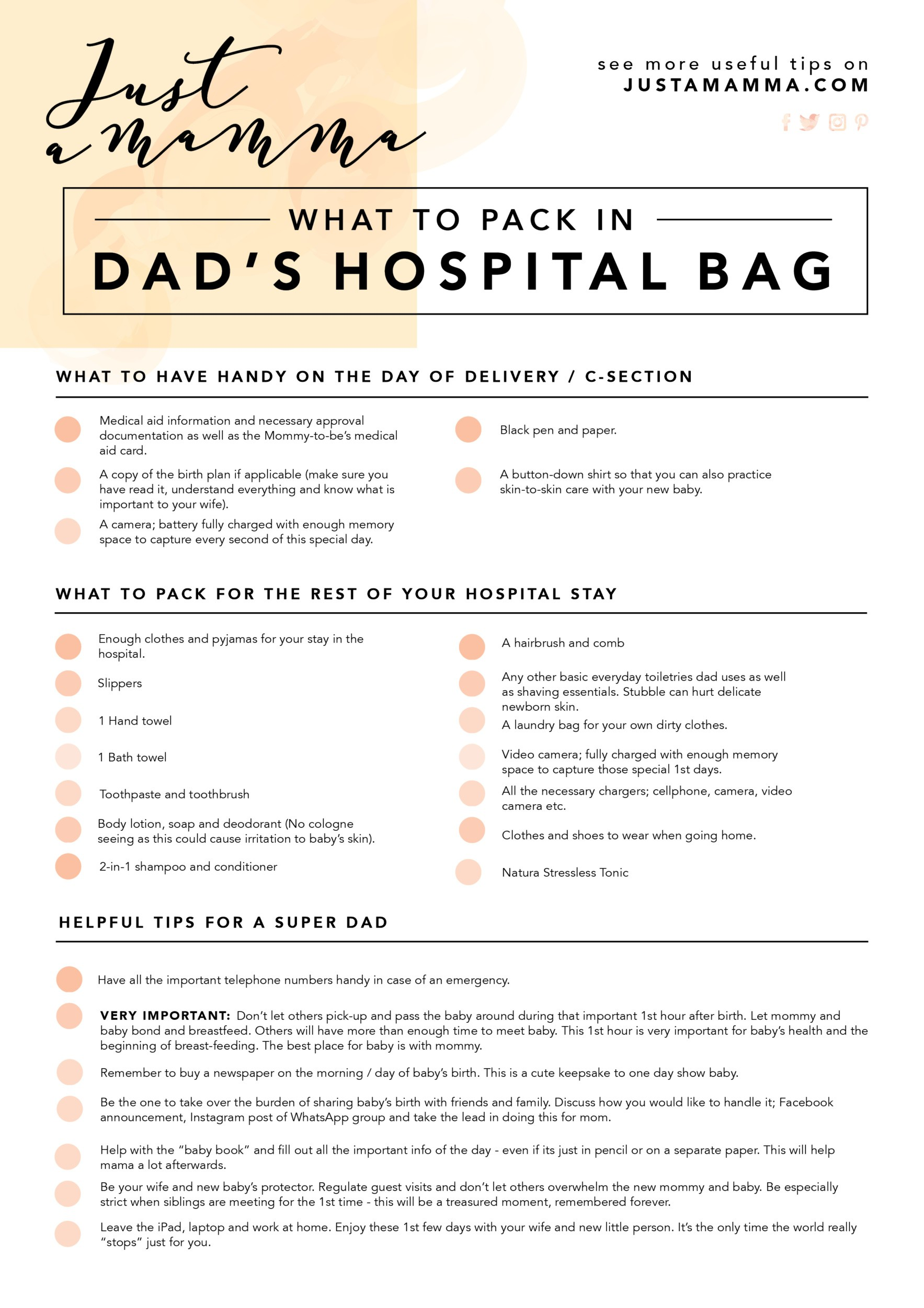 Hospital bag for dad, What's in the bag: Hospital bag for Dad.