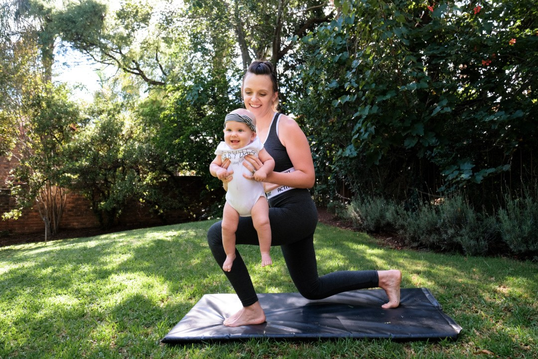JustaMamma Mommy and Baby Fitness lunge