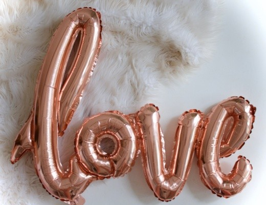 Valentines Day Love Rose gold foil balloon