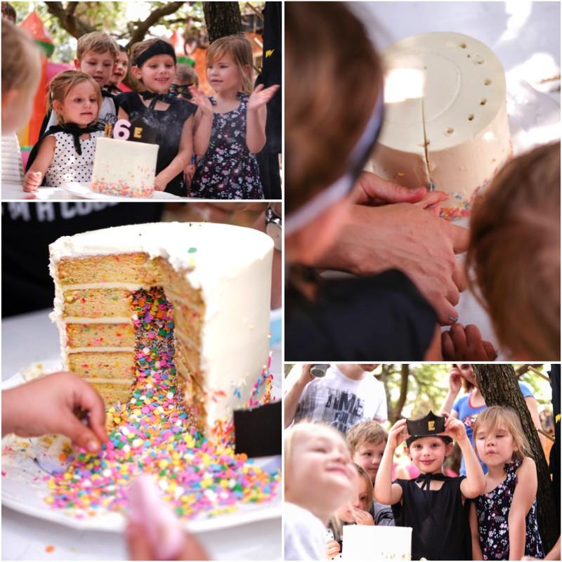 Superhero birthday party funfetti cake