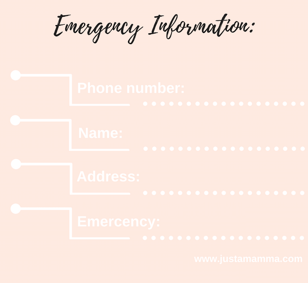 JustaMamma Survival CPR emergency phone call information print out
