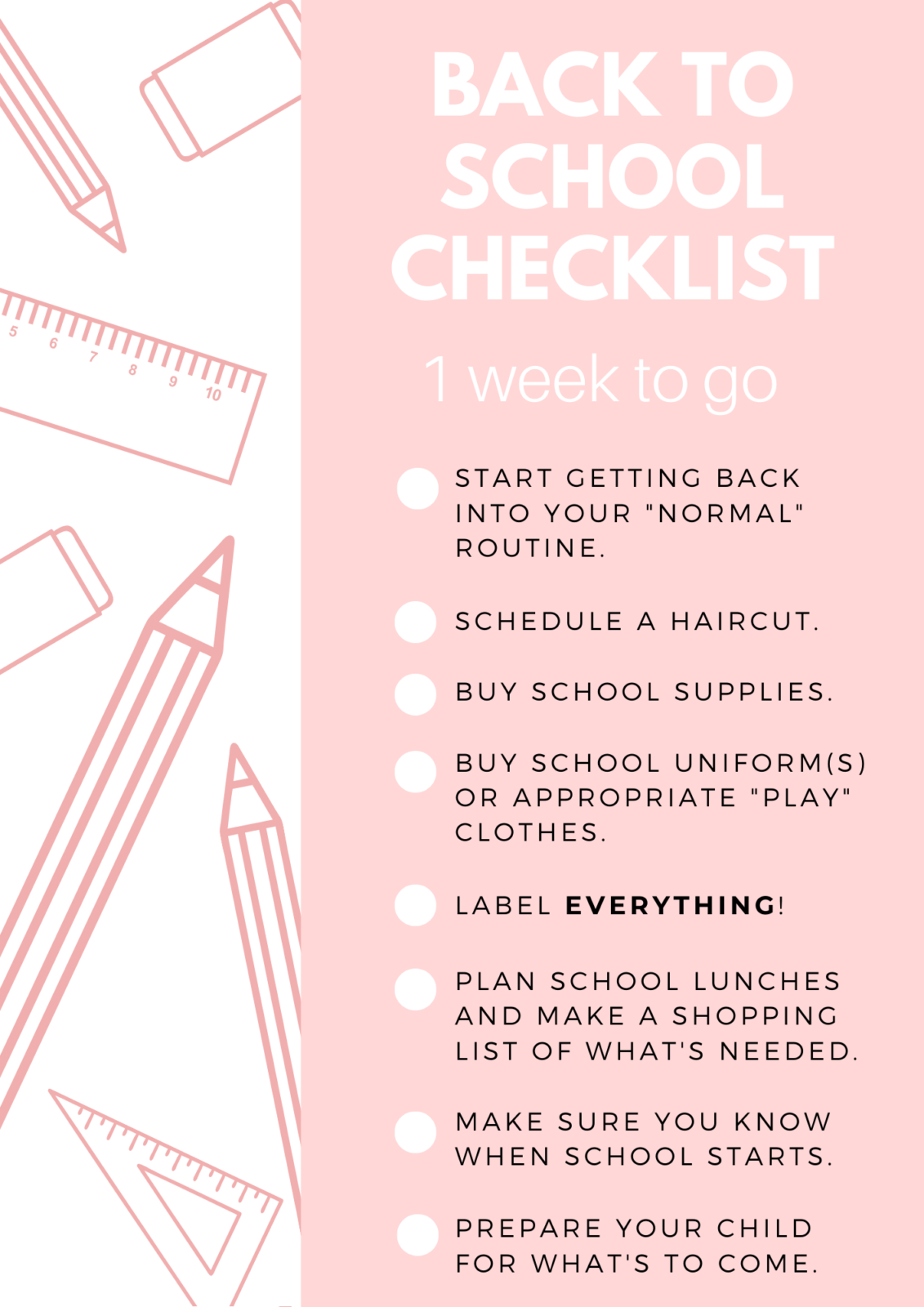 Back To School Checklist 1 Week To Go