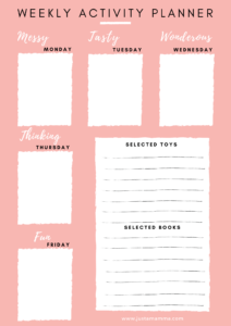FREE Weekly activity planner for kids page1