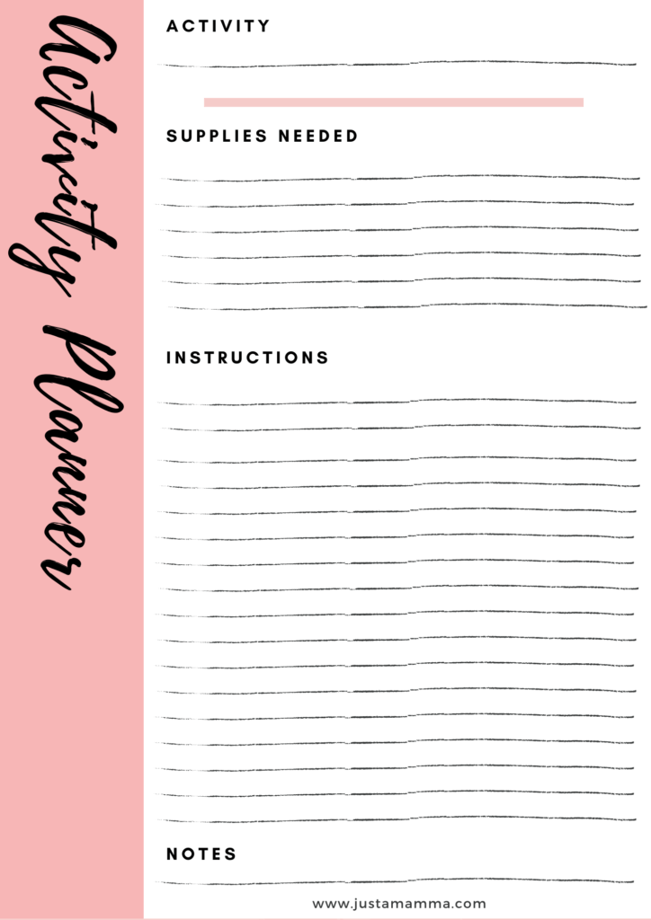 FREE Weekly activity planner for kids page3