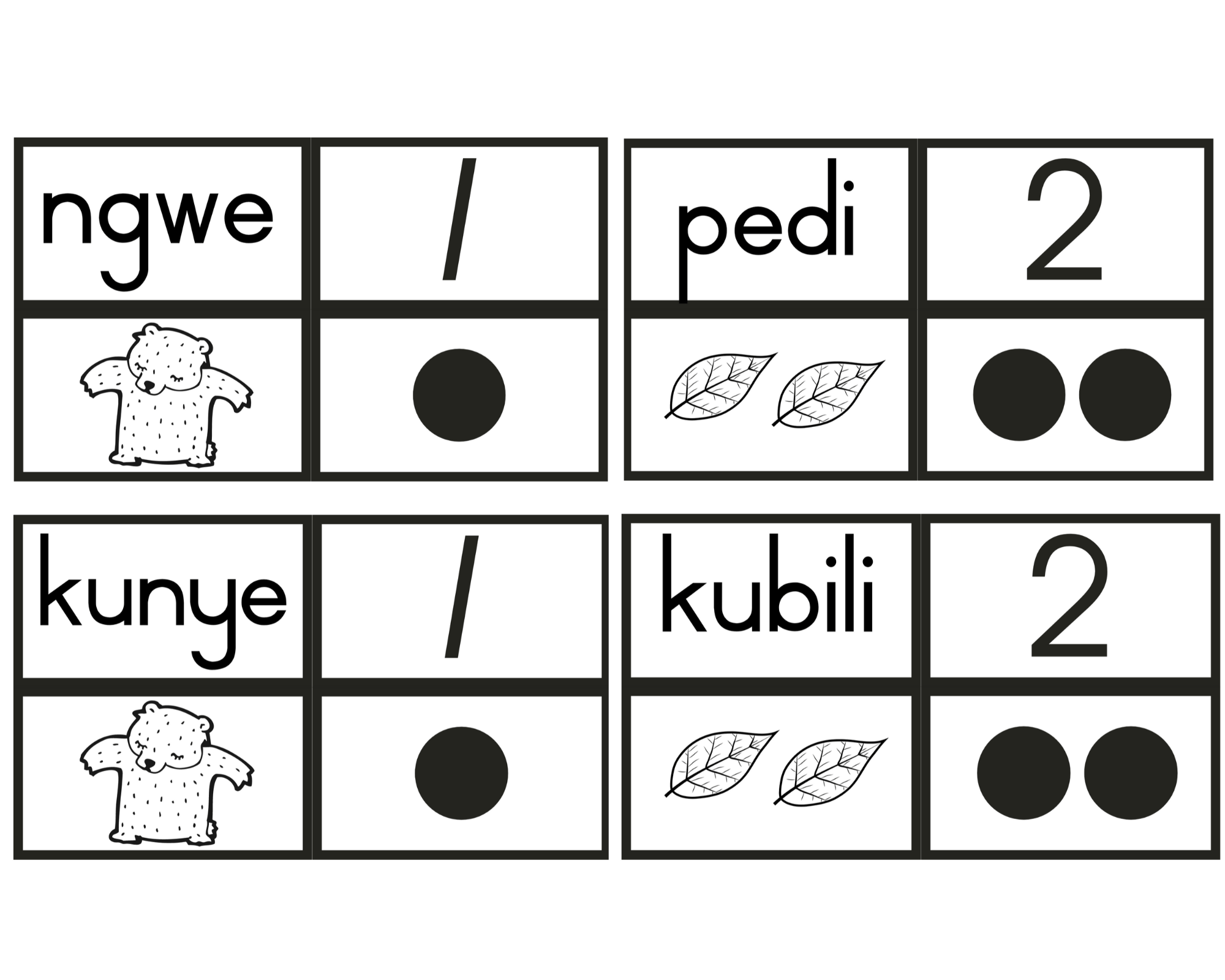 Free Number Flash Cards In African Languages