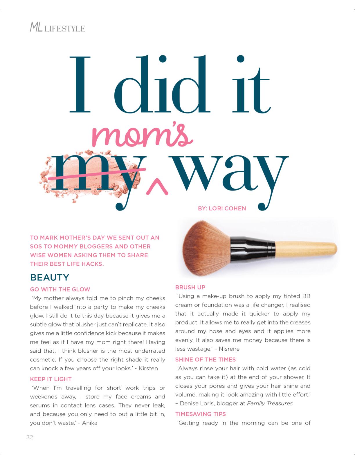 Mom Hacks Article April May ML Mag 1