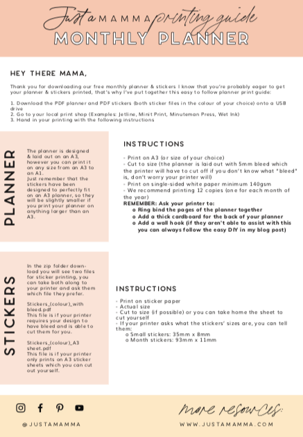 Just A Mamma Family Planner Print Instructions