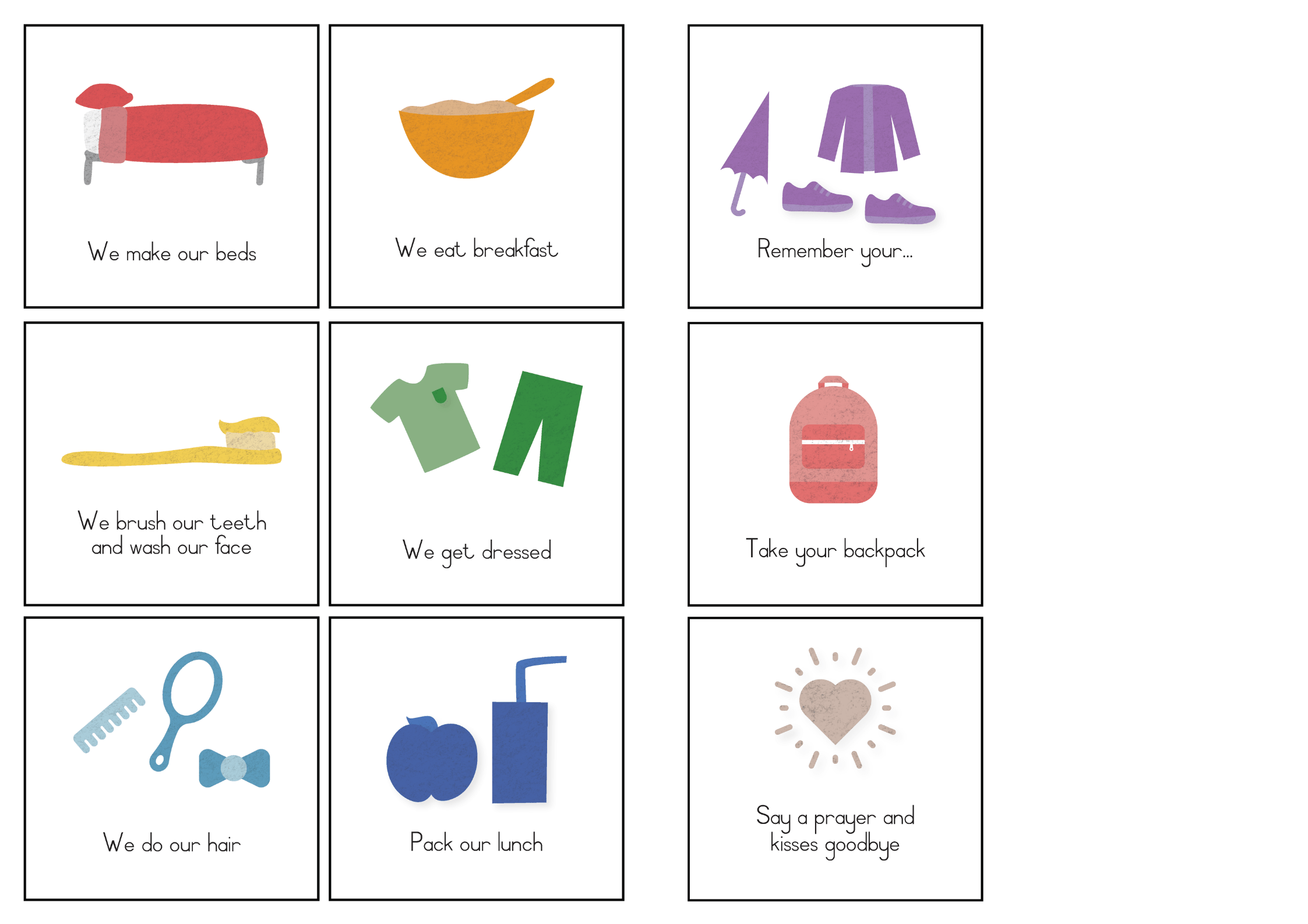 school morning routine cards