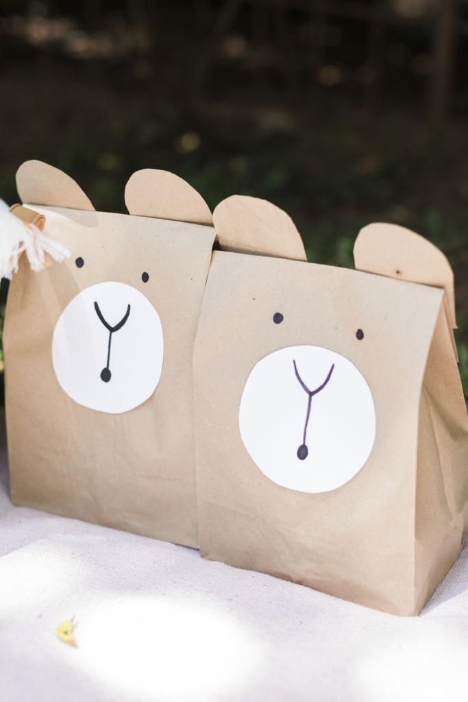 diy kraft paper bag party pack teddy bear