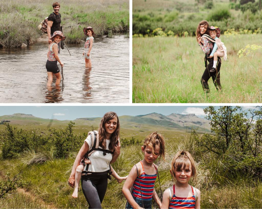 family hiking in the drakensberg