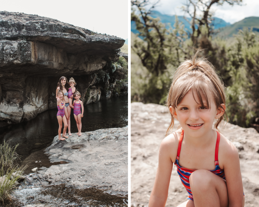 swimming and hiking to waterfalls in the drakensberg