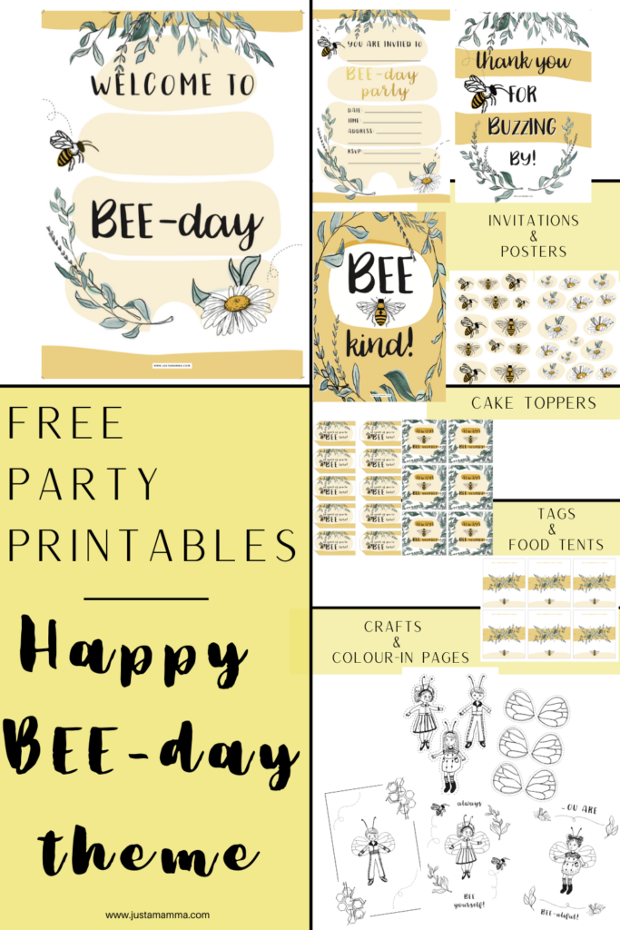 free party printables happy bee day