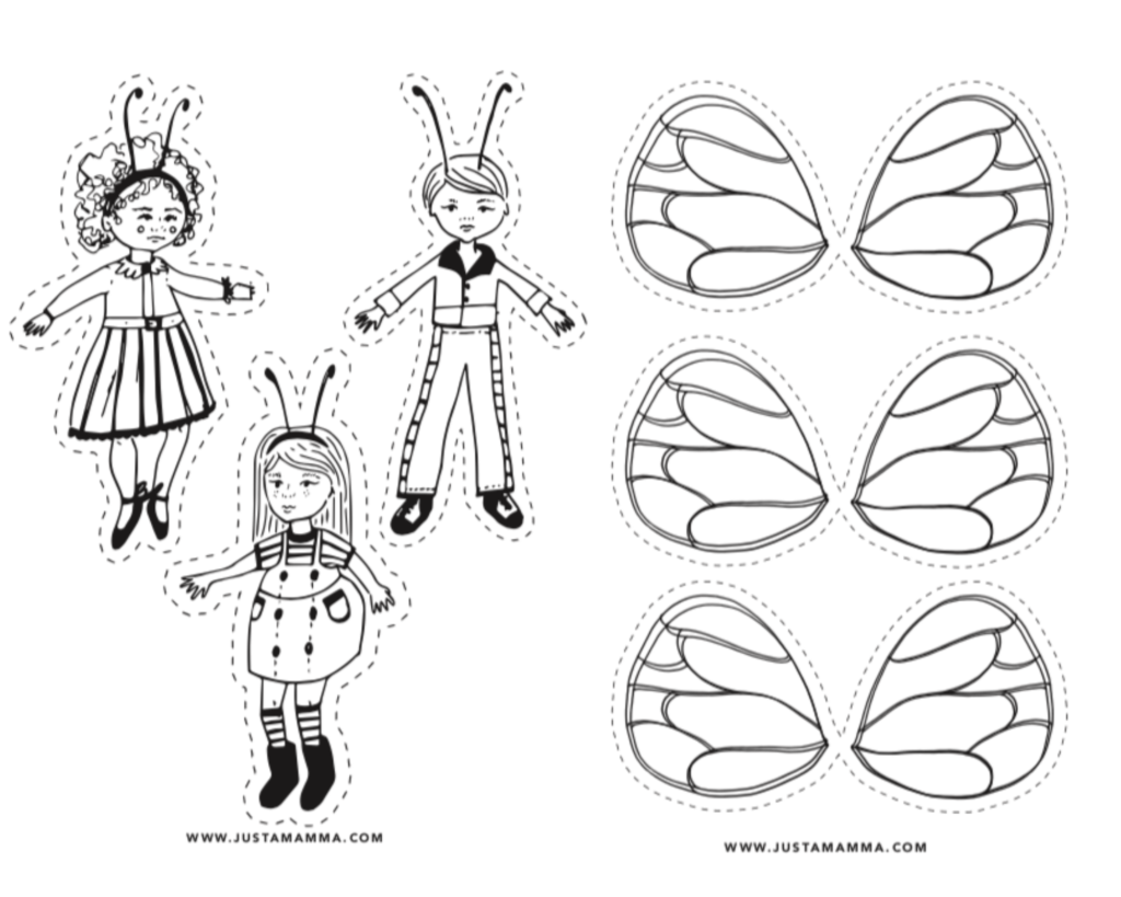 free printable colouring pages for kids bee puppets 1
