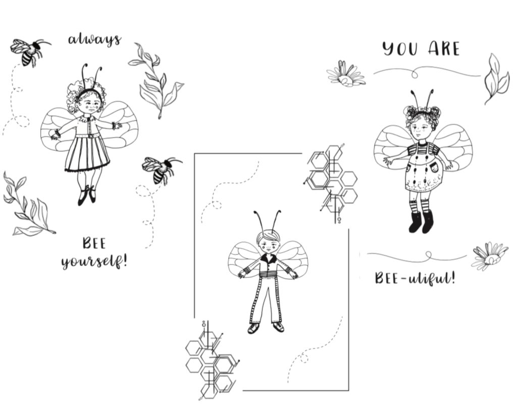 free printable colouring pages for kids bee theme 1