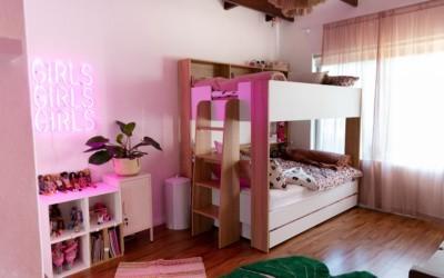 Eliana & Lia's leopard print girls' bedroom makeover!
