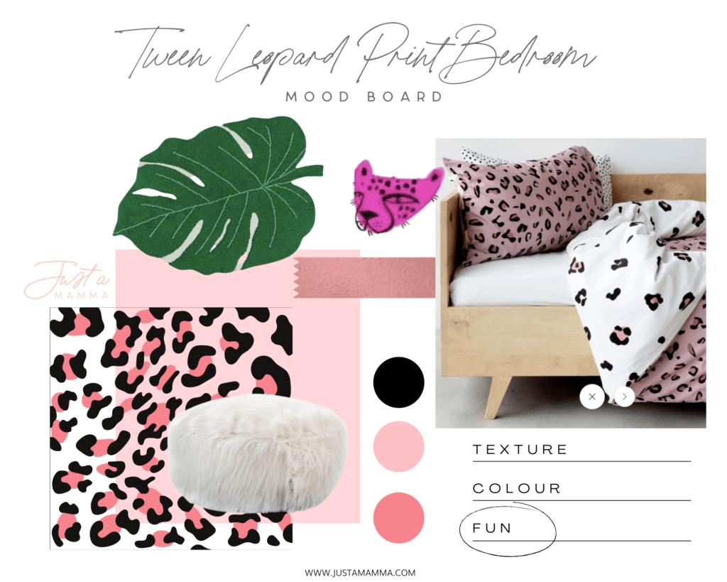 tween leopard print bedroom mood board 1