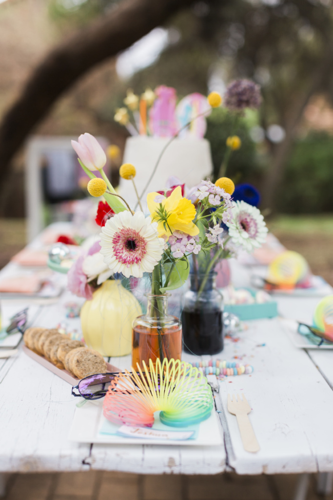 table setting for a trolls birthday party